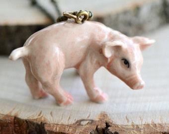 Hand Painted Porcelain Piglet Necklace, Antique Bronze Chain, Vintage Style Pig, Ceramic Animal Pendant & Chain (CA213)