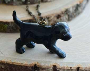 Hand Painted Porcelain Black Lab Puppy Necklace, Antique Bronze Chain, Vintage Style Dog, Ceramic Animal Pendant & Chain (CA078)
