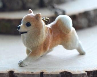 Hand Painted Porcelain Pomeranian Necklace, Antique Bronze Chain, Vintage Style Dog, Ceramic Animal Pendant & Chain (CA057)