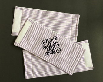 Monogrammed Seersucker can cuddler Wrap, Personalized can Wrap, Can Wrap, can hugger, cozy, insulated drink holder