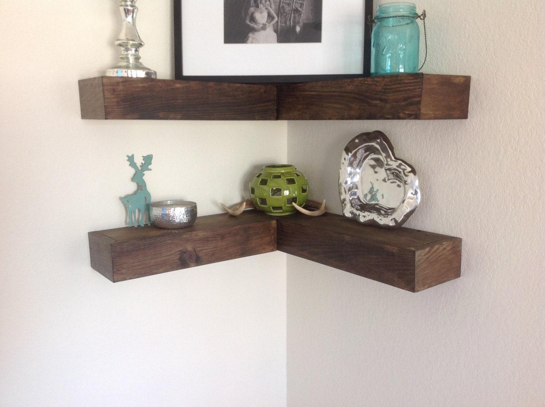 beautiful rustic inspired corner wall floating shelf shelves. Black Bedroom Furniture Sets. Home Design Ideas
