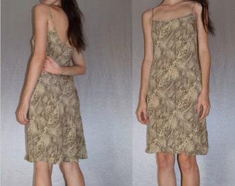 100% Silk Snakeskin Print 90s Slip Dress