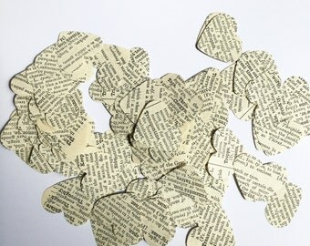 250 hearts die cut from 1930's dictionary Confetti, party, wedding, Vintage upcycled
