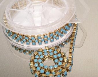 Rhinestone chain by the foot, crystal rhinestones, Turquoise beads, Vintage swaovski crystal, turquoise chain, brass chain, by the foot