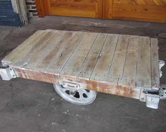 Shabby Chic White Restored Vintage Lineberry furniture factory cart coffee table