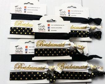 Gold & Black Bridesmaid Hair Tie Set, Bridesmaid Gifts, Gold and Black Hair Elastics, Gifts for Bridesmaids, Bridesmaid Thank You, Polka dot