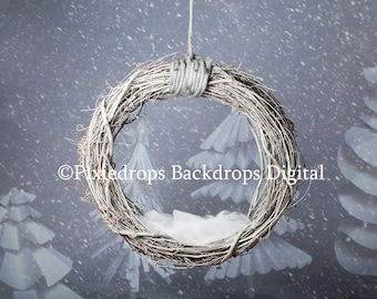 Digital Backdrops/Props (Hanging Newborn Digital Backdrop Twig Swing with Snowy Paper Trees backdrop) Christmas Digital Download