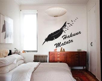 Wall Decor vinyl sticker/ wall decal / wall sticker / vinyl decal inspirational quote- Hakuna Matata