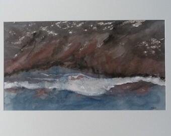 River Landscape, Abstract Watercolor, Watercolor Waterside, Fine Art Painting, Horizontal Art, Contemporary Art, Expressive Watercolor, Nature Art