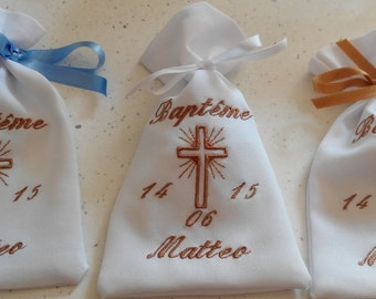 personalized set of 5 sugared almonds embroidered handbag