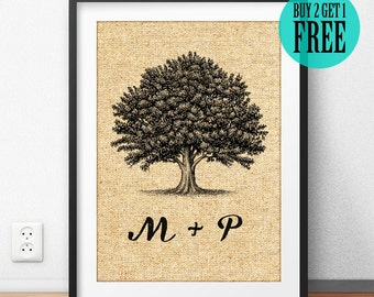 Personalized Family Tree Prints, Tree of Life, Burlap Print, Wedding Gift, Couple Gift, Housewarming Gift, Rustic Wall Art, Home Decor, CM36