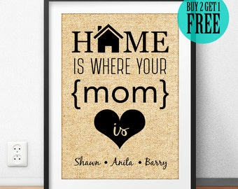 Home Is Where Your, Mom Print, Mother Gifts, Burlap Print, Family Print, Home Decor, Rustic Wall Art, Housewarming, Anniversary Gift, CM53