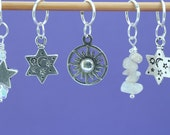 Sun Moon and Stars Knitting or Crochet Stitch Marker Set, Gift for Knitters, Knitting Tools, Celestial Theme Markers, Crochet Tools