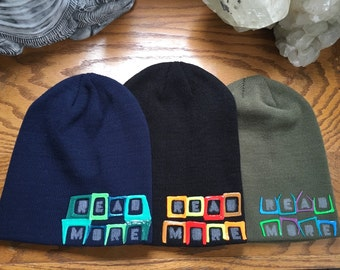 Read More slouchy beanie. hand painted. SLACKER series