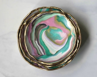LUXE TROPICAL LOVE // CatchAll Marbled Dish Nesting 3 Set/ Jewelry Ring Round Bowl Gift Pink Green Gold Home Decor Organizer Desk Vanity Bed