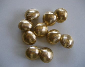 Set of 10 Vintage Goldtone Metal Buttons, Shank Back Buttons