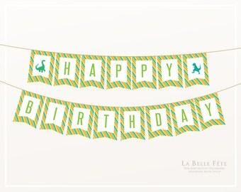 DINOSAUR Stomp, Chomp, Growl + Roar Birthday Banner / Bunting