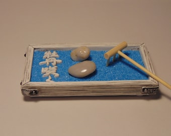Mini Zen Garden Kit - New - PERSONALIZE YOURS! - Choose colour sand and acessories :) BLUE Sand