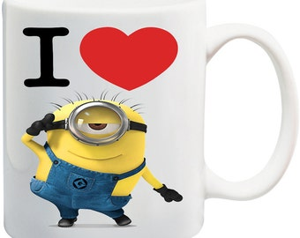 personalised minions mug valentines for her for him