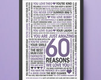 60th Birthday Print, 60 Reasons We Love You, Personalised print, Custom design, mums 60th,