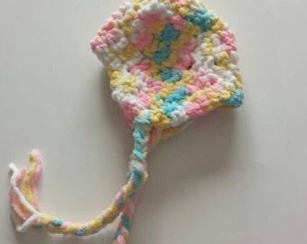 Crochet baby hat, winter baby hat 0 to 6 months