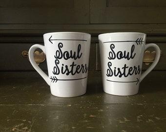 """2 Ceramic """"soul sisters"""" mugs"""
