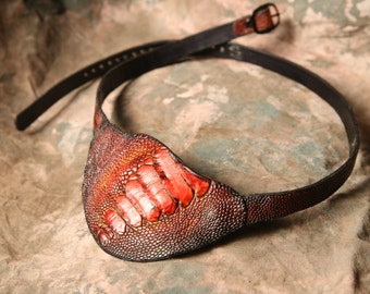 Pirate Eyepatch-- Post Apocalyptic  Wasteland Weekend -- Steampunk Eye Patch  --  Ostrich -- Leather Eyepatch --  Made in the USA