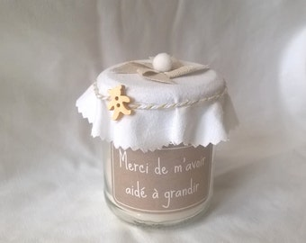"""Candle """"thanks nanny"""" deco beige and customizable white"""