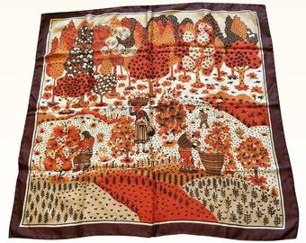 Vintage 100% Silk Brown and Orange Harvest Scarf Unique