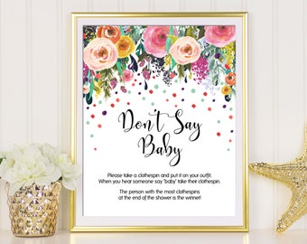 Dont Say Baby Game, Dont Say Baby, Baby Shower Games, Baby Shower Activity, Don't Say Baby Sign, Clothes Pin Game, Confetti Baby Shower Sign