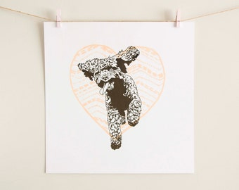 Chocolate Cockapoo Love Heart Screen Print, Spoodle, Cockerdoodle, Cockerpoo, happy dog art, dog print, wall decor, peach, pink, rose, stone