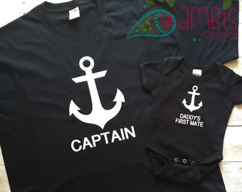 Captain and Daddy's First Mate Set/Captain and First Mate/First Mate Onesie/Anchor Set/Captain Shirt/Father's Day Set/Daddy and Baby Shirts
