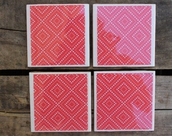 SUMMER SALE! Red and white geometric dots coaster set