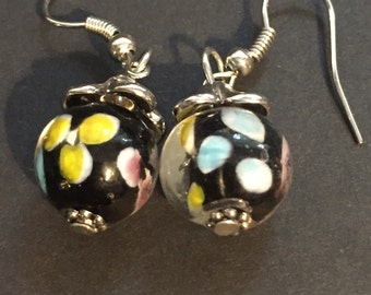 Multi color beaded earring set