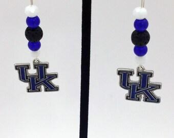 1 Pair - University of Kentucky Theme Dangle Beaded Earrings Brass Ear wire Kidney Style EAR0045