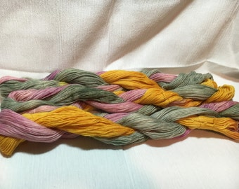Hand Dyed Alpaca Sock Yarn - Green, Pink and Yellow