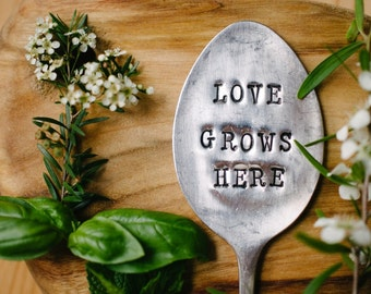 "Upcycled vintage silver plated spoon garden marker - EPNS ""Love grows here"""