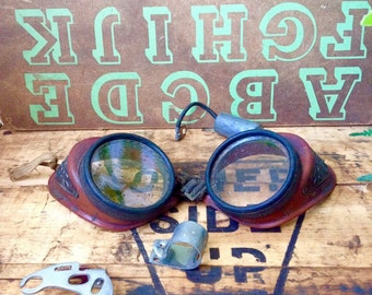 Vintage Red Welding Goggles, Aviator Goggles
