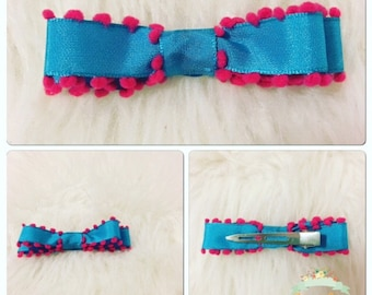 Blue and pink mini bows