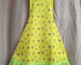 Apron with Sponge Bob fabric and lime green pleats
