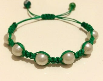 Anabela Bracelets with White Beads