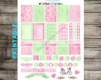 PRINTABLE for Happy Planner - Mint Pink Watercolor Weekly Planner Sticker Kit MAMBI Creative 365 Green Water Color