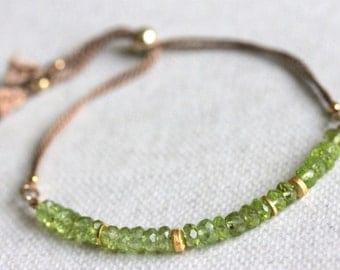 Peridot and Silk Bracelet, Delicate Gemstone Jewelry, Green Beige