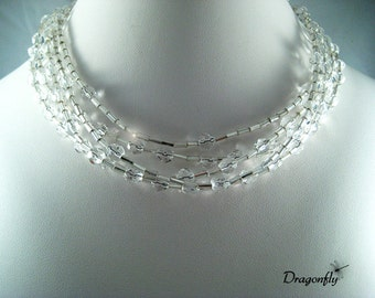 SALE..Multi Strand, Crystal Clear Ice Necklace