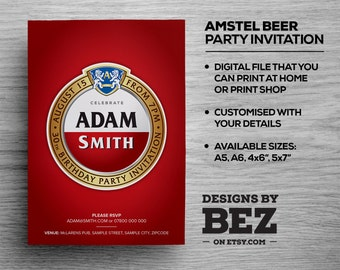 Amstel Beer Style Party Invite - Personalised invitation for your birthday/occasion. 21st, 30th, 40th, 50th, 60th, Stag Do....