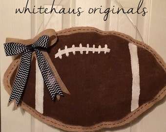 Football Door Hanger - Burlap