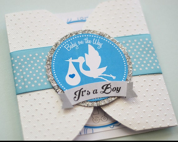 Customizable Handmade Boy or Girl Baby Shower Pochette Invitations with embossed petals, invites