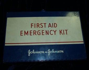 1960's Johnson & Johnson First Aid Emergency Kit