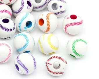 25 Assorted Color Acrylic Round Baseball Beads 12mm (B67a)