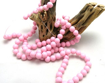 1 Strand Painted Glass Beads 8mm Pale Pink (B73a3)